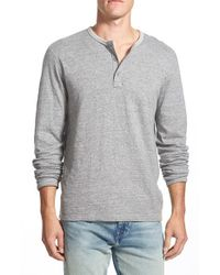 Lucky Brand | Gray 'duofold' Double Faced Knit Long Sleeve Henley for Men | Lyst