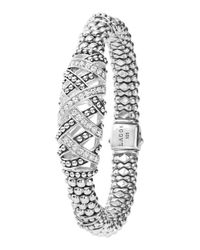 Lagos - Metallic Embrace Silver 3-station Diamond Bracelet - Lyst