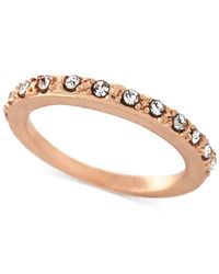 BCBGeneration | Pink Rose Gold-tone Crystal Stack Ring | Lyst