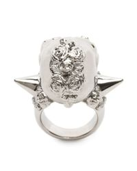 Alexander McQueen - Metallic Punk Rose Ring for Men - Lyst