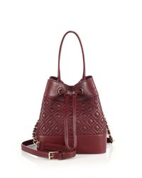 Tory Burch | Red Marion Quilted Leather Bucket Bag | Lyst