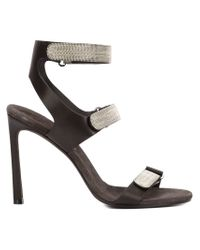 Brunello Cucinelli   Black Velcro Strap Sandals   Lyst