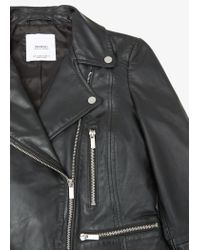 Mango | Black Leather Biker Jacket | Lyst