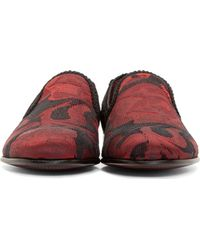 Dolce & Gabbana - Black And Red Brocade Slip-on Loafers for Men - Lyst
