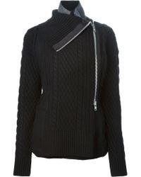 Sacai | Black Cable Knit Details Asymmetric Zip Jacket | Lyst