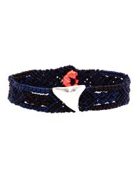 Dezso by Sara Beltran - Blue Handwoven Shark Tooth Bracelet - Lyst