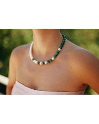 Eshvi   Green Back To School Malachite Pearls Necklace   Lyst