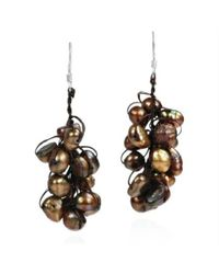 Aeravida | Brown Cluster Natural Bronze Pearl .925 Silver Dangle Earrings | Lyst