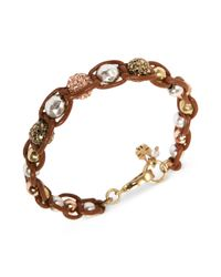 Lucky Brand - Brown Twotone Pave Bead Leather Macrame Bracelet - Lyst