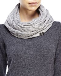 Vince Camuto - Gray Cable Knit Infinity Scarf - Lyst