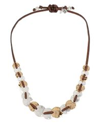 Robert Lee Morris | Brown Boho City Hammered Disc Leather Necklace | Lyst
