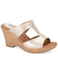 Söfft | Metallic Eurosoft By Farrah Platform Wedge Sandals | Lyst