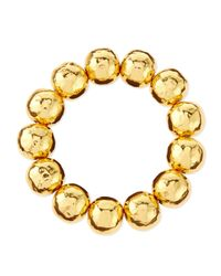 Nest | Metallic Hammered Gold-plated Bead Bracelet | Lyst