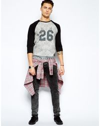 ASOS - Gray Three Quarter Sleeve T-Shirt with Floral Number Print for Men - Lyst