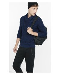 Express | Blue Marl Shawl Neck Sweater for Men | Lyst