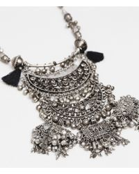 Zara | Black Long Necklace With Metal Pieces | Lyst