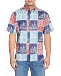 Reyn Spooner - Blue 'newport Patch' Classic Fit Wrinkle Free Button Down Shirt for Men - Lyst