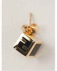 Fendi | Metallic 'Sta' Cube Earrings | Lyst