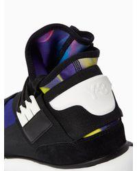 Y-3 - Black Qasa Printed Neoprene High-Top Sneakers for Men - Lyst