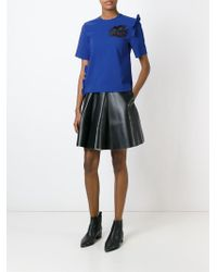 MSGM - Blue Embroidered Broken Heart Top - Lyst