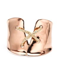 Alexis Bittar | Metallic Rose Gold Encrusted Criss Cross Cuff | Lyst