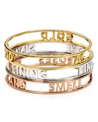 kate spade new york - Metallic Find The Silver Lining Words Of Wisdom Bangle - Lyst