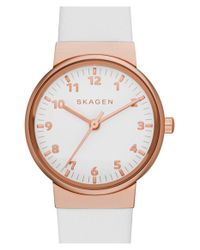 Skagen - Pink 'ancher' Leather Strap Watch - Lyst