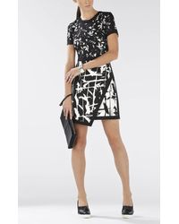 BCBGMAXAZRIA - Black Raquel Print-blocked Asymmetrical Skirt Dress - Lyst