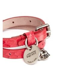 Alexander McQueen | Red Skull Charm Double Wrap Whipsnake Leather Bracelet | Lyst