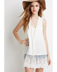 Forever 21 | Natural Embroidered Lace Mesh-paneled Vest | Lyst