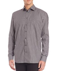Eton of Sweden - Gray Contemporary-fit Plaid Sportshirt for Men - Lyst