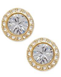 Swarovski | Metallic Gold-tone Crystal Circle Stud | Lyst