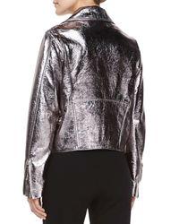 McQ - Pink Metallic-Leather Biker Jacket - Lyst