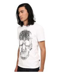 Just Cavalli | White Short Sleeve Feather Skull Graphic Super Slim Tee for Men | Lyst