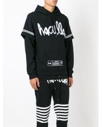 Haculla - Black Logo Print Layered Hoodie for Men - Lyst