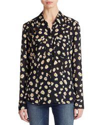Guess - Black Floral Print Blouse - Lyst