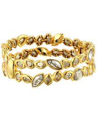 Alexis Bittar | Metallic Antique Set Crystal Stacking Hinge Bracelet | Lyst
