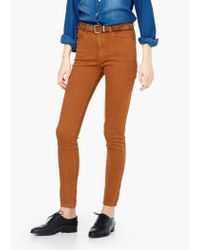 Mango | Brown Skinny Cotton Trousers | Lyst