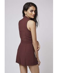 TOPSHOP - Purple Plunge Playsuit - Lyst
