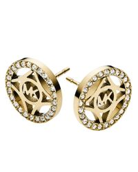 Michael Kors | Metallic Goldtone Mk Logo Earrings | Lyst
