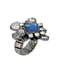 Guess | Blue Stone Cluster Stretch Ring | Lyst