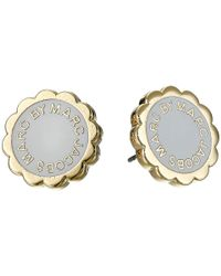 Marc By Marc Jacobs | Gray Enamel Scalloped Logo Disc-o Studs Earrings | Lyst