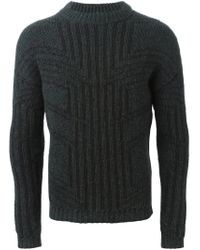 Les Hommes - Gray Geometric Pattern Sweater for Men - Lyst