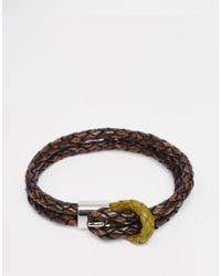 Ted Baker | Green Plaited Wrap Leather Bracelet for Men | Lyst