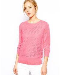 Oasis - Pink Lace Front Sweater - Lyst