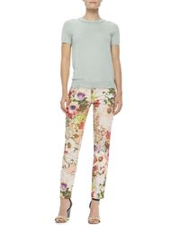 Tory Burch - Fivepocket Floral Print Jeans Multicolor - Lyst