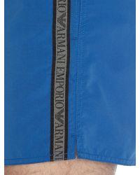Armani Jeans | Blue Drawstring Taping Logo Swimming Shorts for Men | Lyst