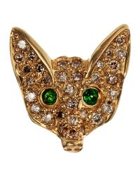 Sydney Evan - Green Pave White Diamond Fox Single Stud Earring - Lyst