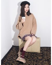Pixie Market - Brown Tan Mock Neck Oversize Sweater - Lyst