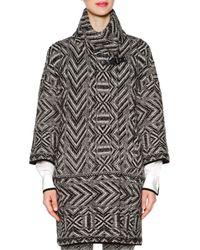 Piazza Sempione - Black Chevron Cashmere-blend Jacquard Knit Coat - Lyst